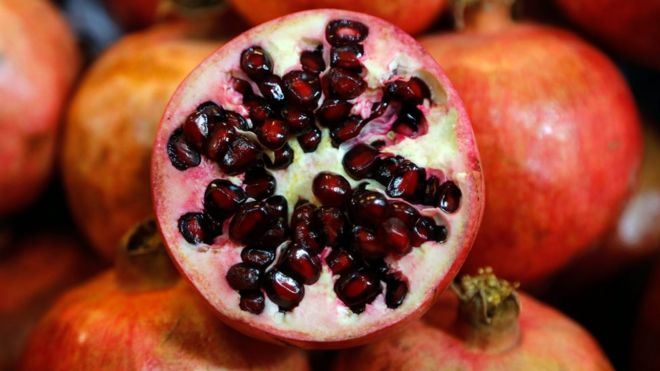 A cut pomegranate
