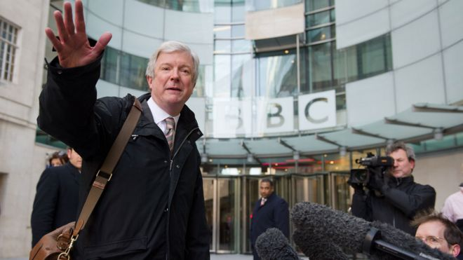Tony Hall outside the BBC's London HQ