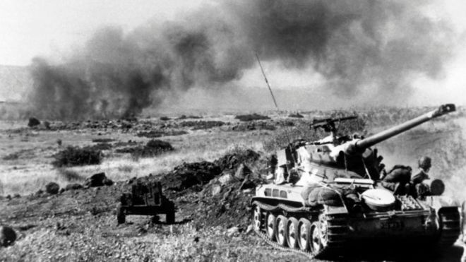 French-built Israeli tanks in action in this photo taken June 1967 during the six-day war on the Golan Heights.
