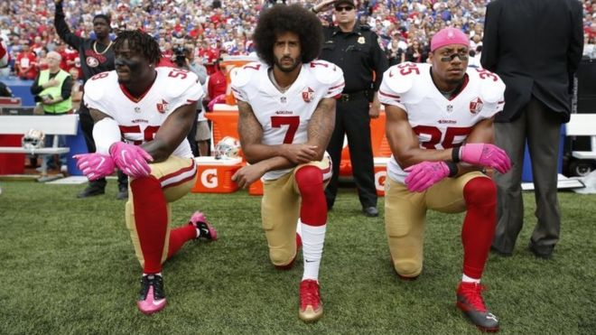 Trump criticised protestors and NFL players who resorted to kneeling down during the national anthem