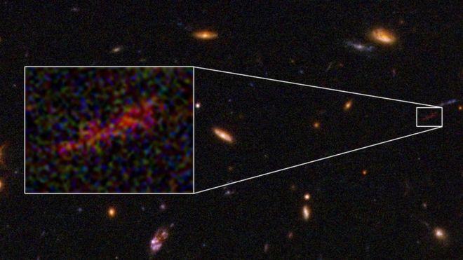 hubble scores unique close up view of distant galaxy bbc news