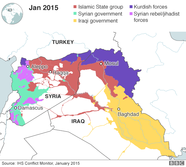Map showing Iraq/Syria areas of control in January 2015