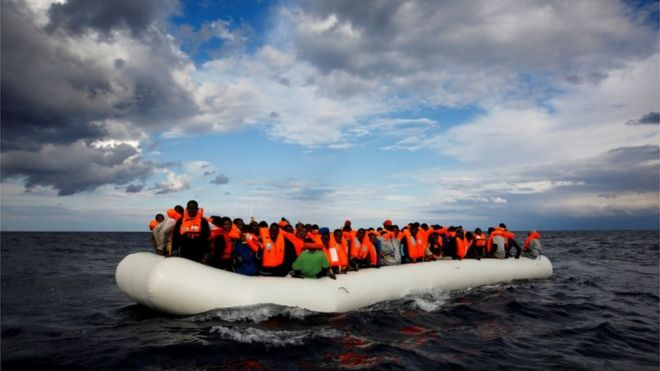 Migrants on overcrowded raft in the central Mediterranean (file photo - January 2017)