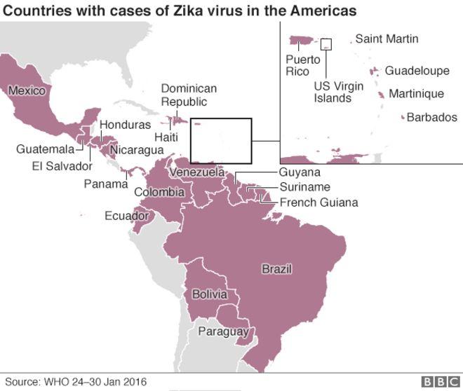 Карта случаев Зика