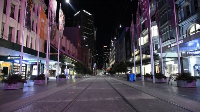 Bourke Street Mall as a curfew is introduced in Melbourne, 02 August 2020