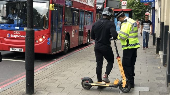 Nearly 100 e-scooter users stopped in London one week - BBC News