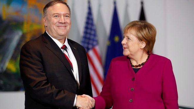 Во время визита в Берлин Майк Помпео встретился с канцлером ФРГ Ангелой Меркель