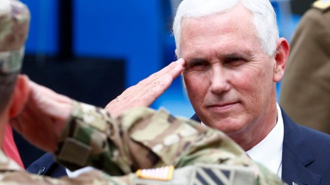 US Vice-President Pence salutes soldiers as he visits Nato's Enhanced Forward Presence mission and Estonian troops in Tallinn
