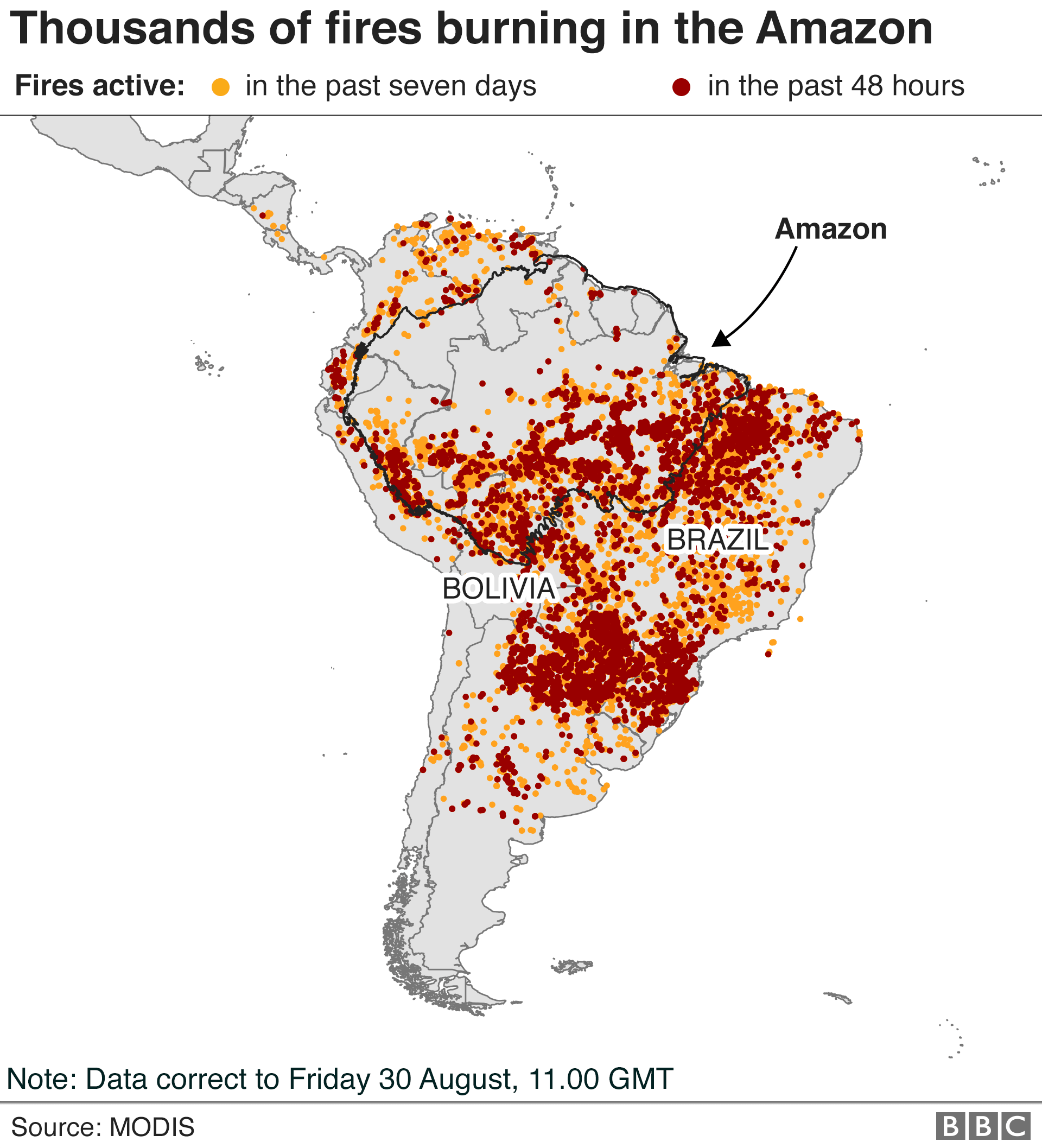 Map showing active fires in South America