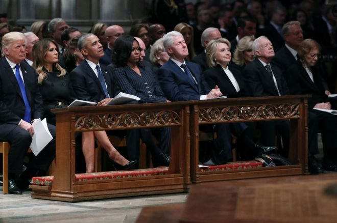 George HW Bush funeral: Four presidents sat (awkwardly) on