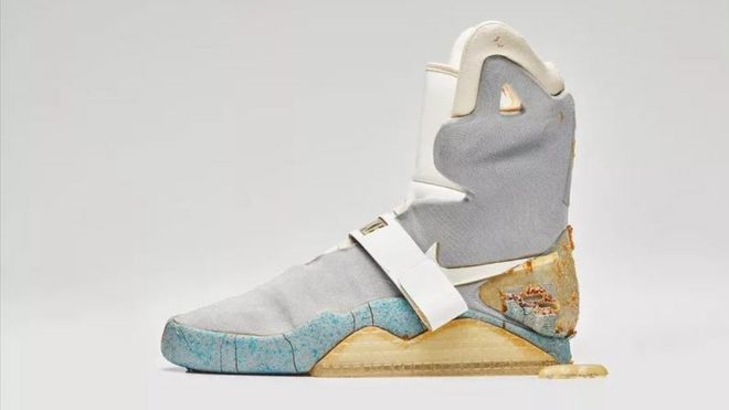 newest 0636c 8e86a Back to the Future shoe sells for nearly $100k - BBC News
