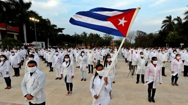 Cuban doctors at a ceremony before they left Havana for South Africa - 25 April 2020