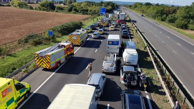 Taunton M5 crash was 'collision between lorry and queuing cars