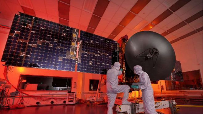 A picture of UAE scientists working on the country's Mars probe