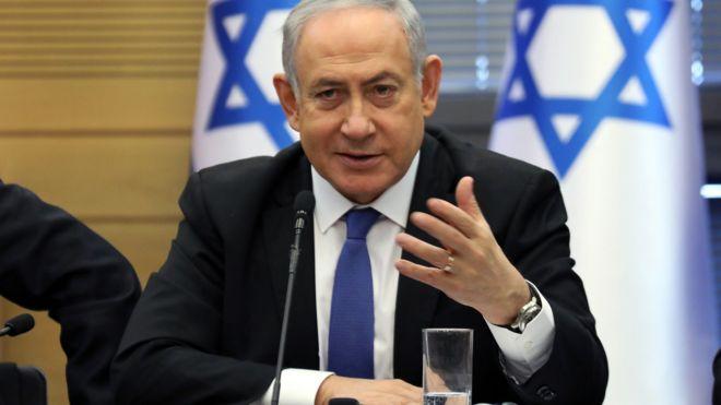 Benjamin Netanyahu speaks at the Israeli parliament in Jerusalem on 20 November 2019