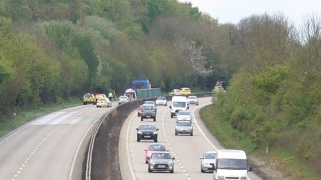 Norfolk A11 crash: Man dies in car, deer and lorry collision
