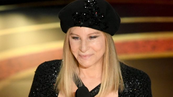 Barbra Streisand on stage at the Oscars