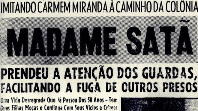 Manchete sobre a participação de João Francisco numa fuga penitenciária em 1955. O transformista nutria grande admiração por Carmen Miranda e procurava imitá-la sempre que possível
