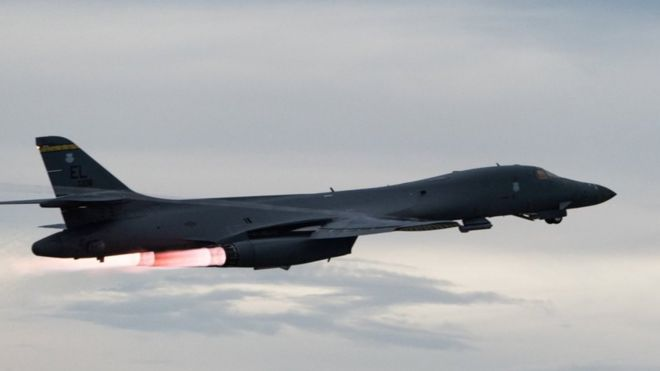 A US Air Force B-1B Lancer assigned to the 37th Expeditionary Bomb Squadron, takes off to fly a bilateral mission with Japanese and South Korea Air Force jets in the vicinity of the Sea of Japan, from Andersen Air Force Base, Guam, 10 October 2017