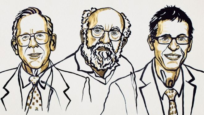 Слева направо: Джеймс Пиблс, Мишель Майор, Дидье Кело