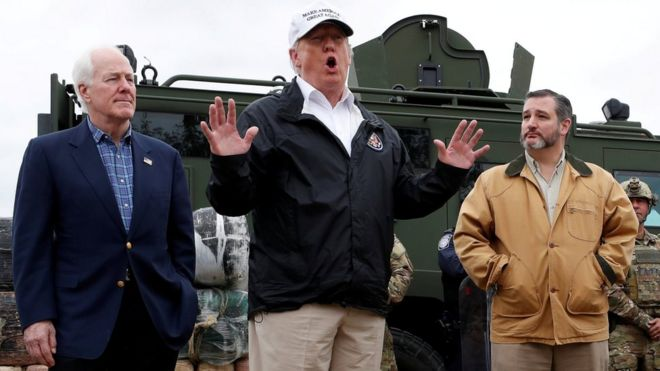 Image result for trump at the border, texas, january 2019, photos