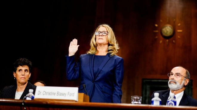 Christine Blasey Ford swears in at a Senate Judiciary Committee hearing on Capitol Hill in Washington, U.S., September 27, 2018