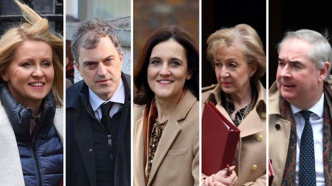 Esther McVey, Julian Smith, Theresa Villiers, Andrea Leadsom, Geoffrey Cox