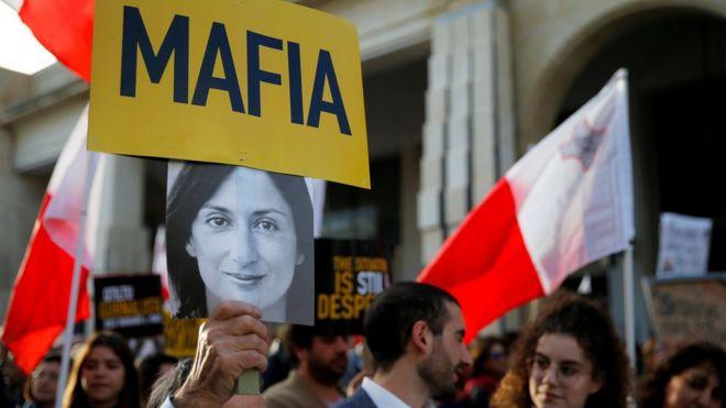 Protesters in Valetta, Malta, 1 December