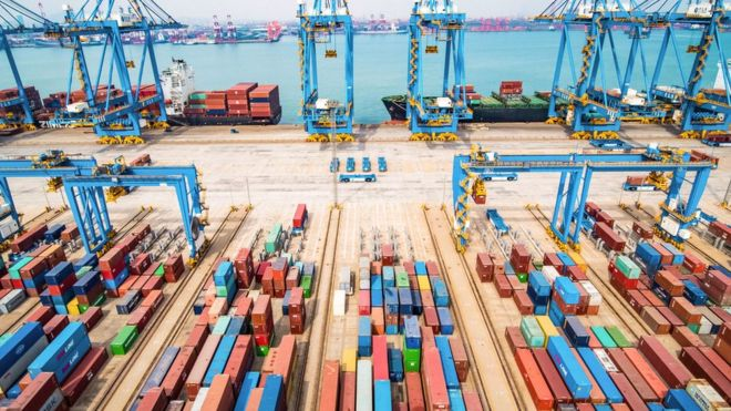 An aerial view of a port in Qingdao in China's eastern Shandong province on March 8, 2019.
