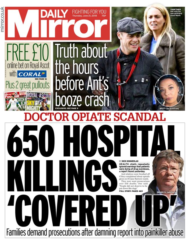 Daily Mirror front page - 21/06/18