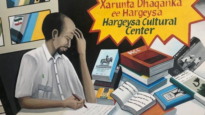 Drawing of man writing