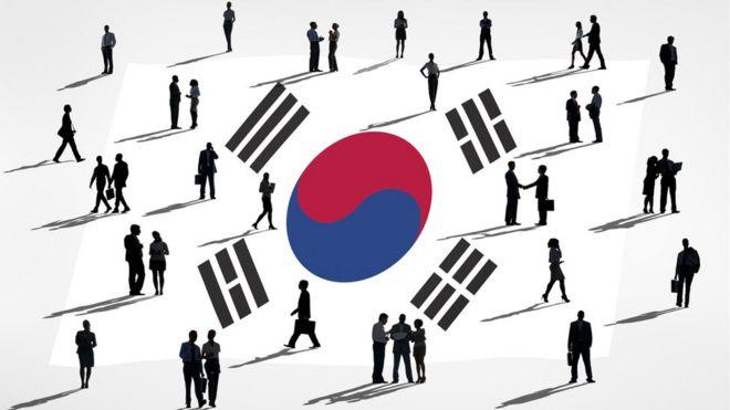bandeira e pessoas Coreia do Sul