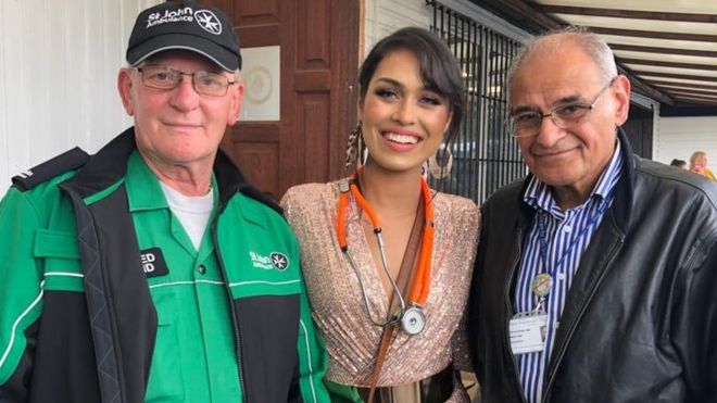 Bhasha Mukherjee was helped by the St John Ambulance and paediatrician Prof Rashid Gatrad