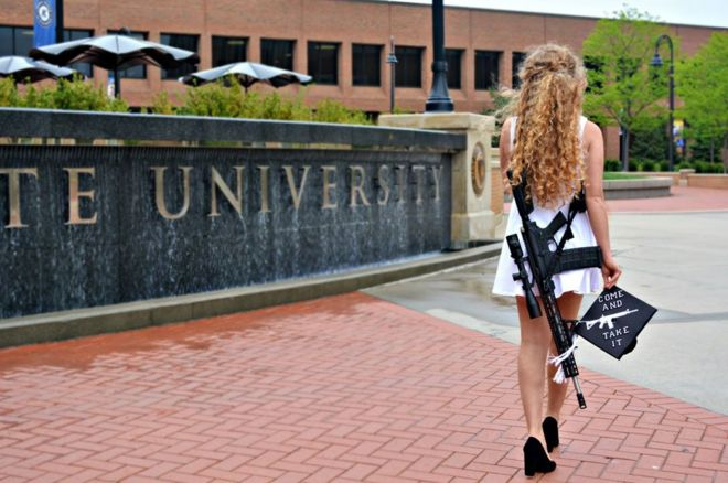 767d70de9a9 Kaitlin Bennett  Why she wore a rifle for graduation photos - BBC News