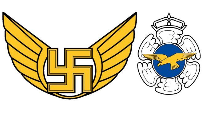 Logotipo antigo da Força Aérea Finlandesa à esquerda, ao lado do logotipo atual