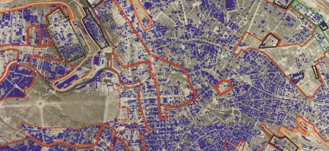 Bomber command maps reveal extent of german destruction bbc news image copyright iwm map of ne berlin highlighting areas of bomb damage gumiabroncs Gallery