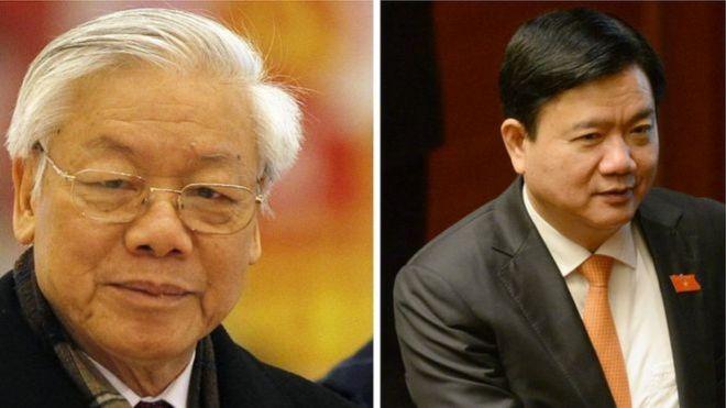 Tổng bí thư Nguyễn Phú Trọng (trái) nói việc kỷ luật ông Đinh La Thăng mới chỉ 'về mặt Đảng'