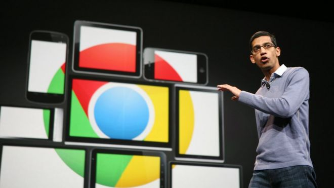 Google chief executive Sundar Pichai on stage