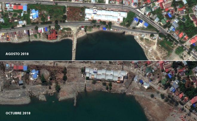 Imágenes que muestran Jetty antes y después del tsunami