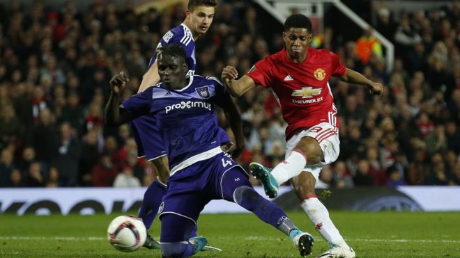 """Manchester United""""s Marcus Rashford scores their second goal Reuters"""