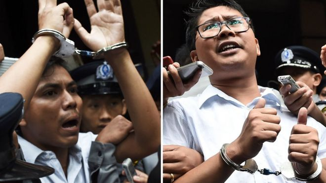 Kyaw Soe Oo (left) and Wa Lone after their sentencing in September 2018