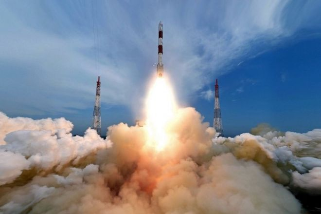 "A handout picture provided by the Indian Space Research Organization (ISRO) shows the fully integrated PSLV-C35 taking off from the launch pad at Sriharikota""s Satish Dhawan Space Centre in Andhra Pradesh, India, 26 September 2016"