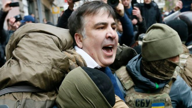 Georgian former President Mikheil Saakashvili is detained by officers of the Security Service of Ukraine
