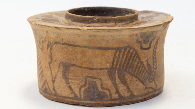 An Indus Valley Harappan Civilisation pottery jar dating back to 1900 BC