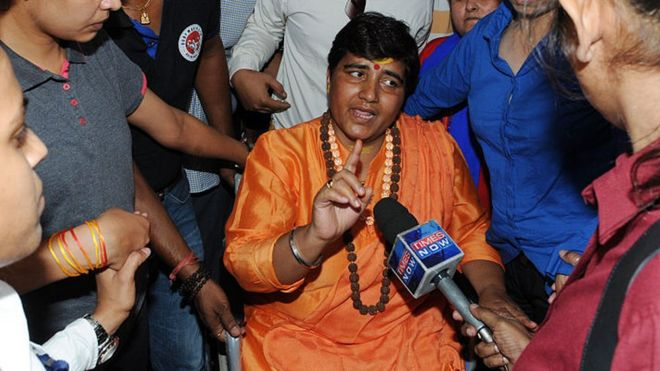Hindu activist Sadhvi Pragya Singh Thakur leaving for Simhastha in Ujjain under heavy police protection on May 18, 2016 in Bhopal, India.
