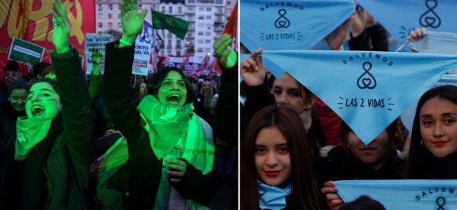 Женщины протестуют против дебатов в Аргентине