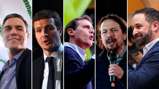 İspanya'da seçim yarışını götürecek olan parti liderleri: Pedro Sánchez, Pablo Casado, Albert Rivera, Pablo Iglesias, Santiago Abascal