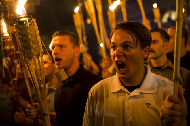 White supremacists marching in Charlottesville