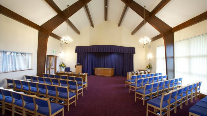 Picture shows the inside of a funeral parlour.