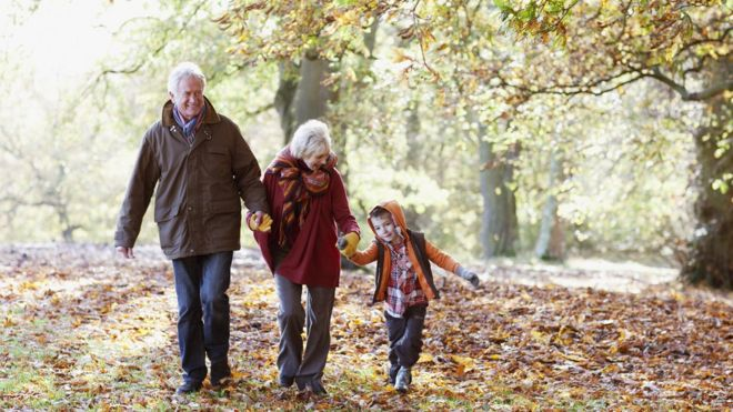 older couple and grandson
